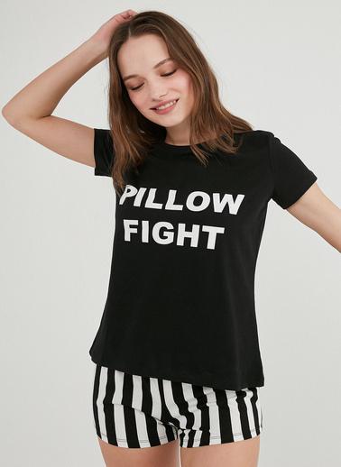 Penti Kadın Siyah Base Pillow Şort Pijama Takım PNJV90AO21IY Siyah